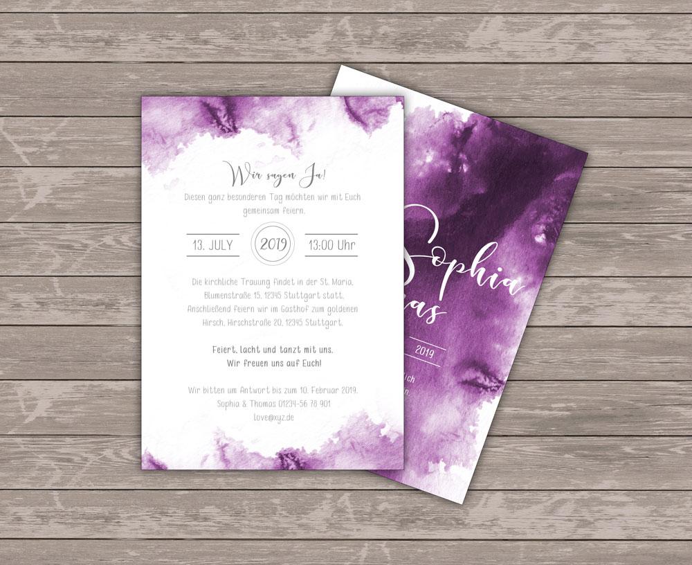 Lilac Sky Einladung Rückseite