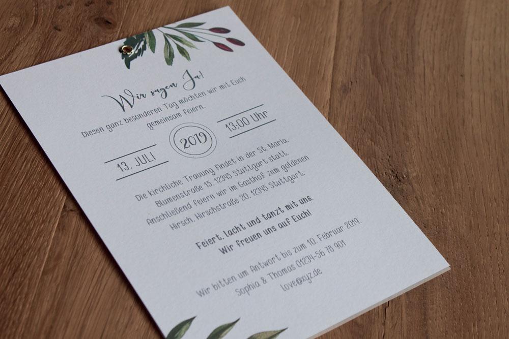 Einladungskarte mit Transparentpapier und Öse Rückseite