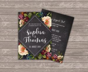 Mrs. Farbenfroh Black and wild Einladungskarte