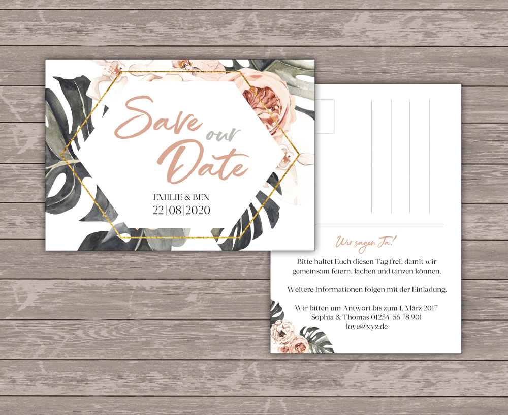 Tropical Love Save the Date Postkarte