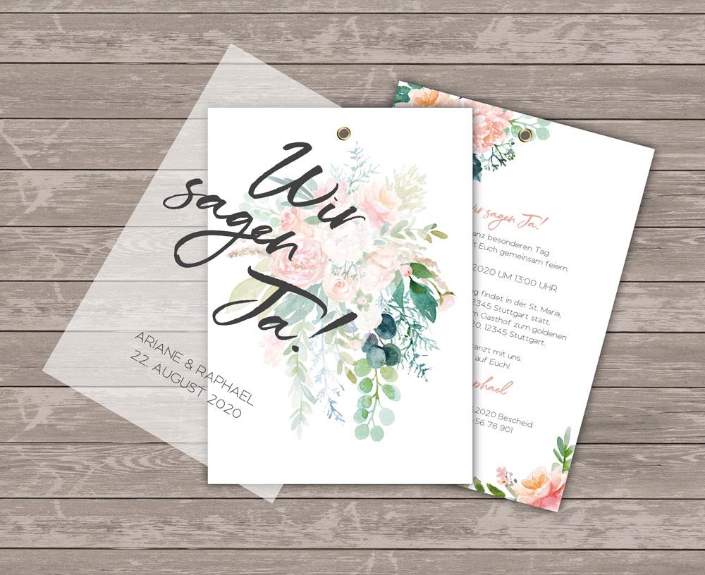 Lovebirds White Einladung mit Transparentpapier