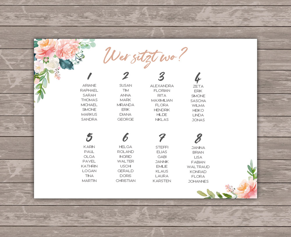 Lovebirds White Sitzplan Poster