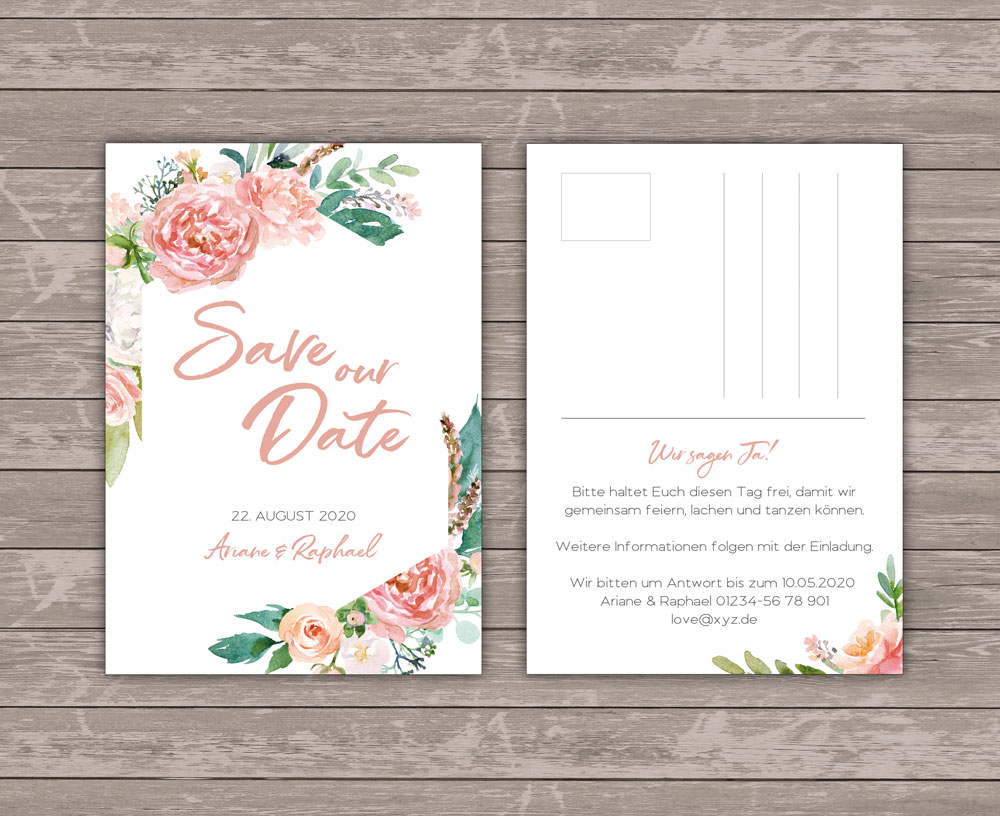Lovebirds White Save the Date Postkarte