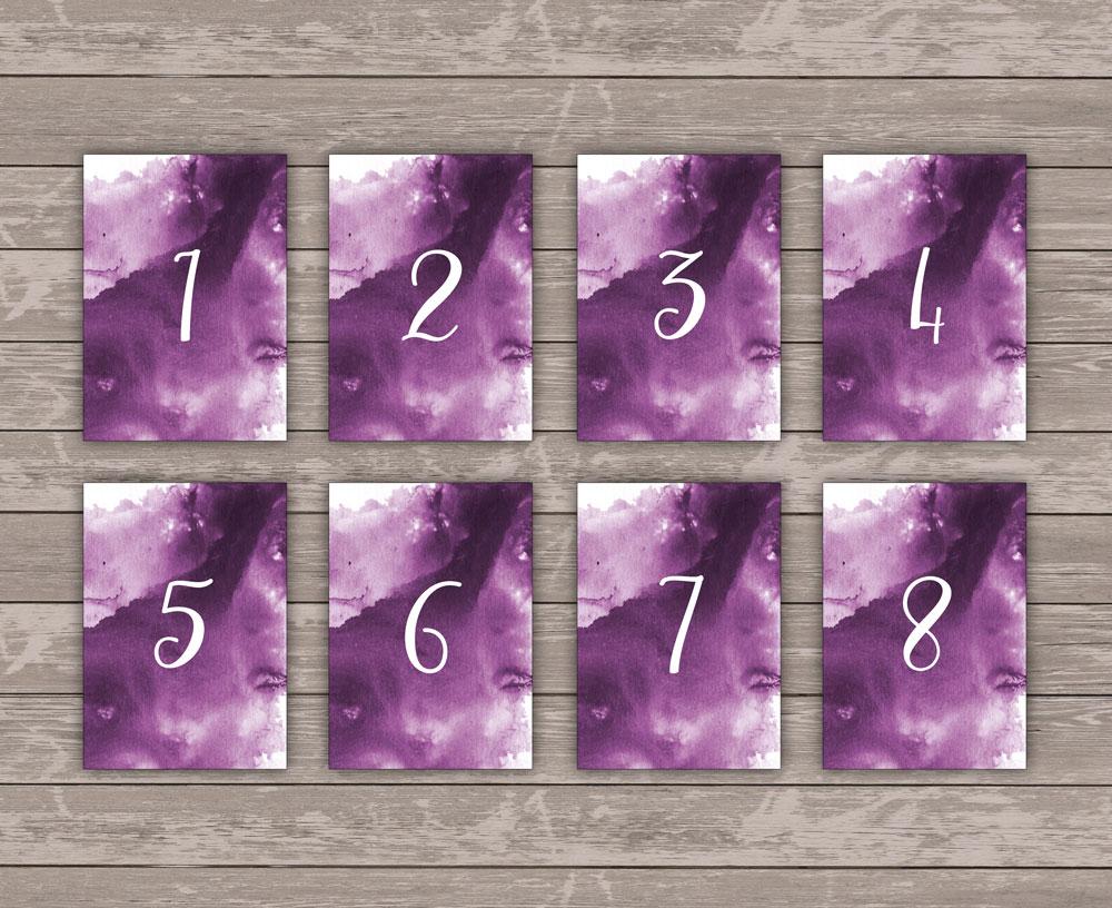 Lilac Sky Tischnummern