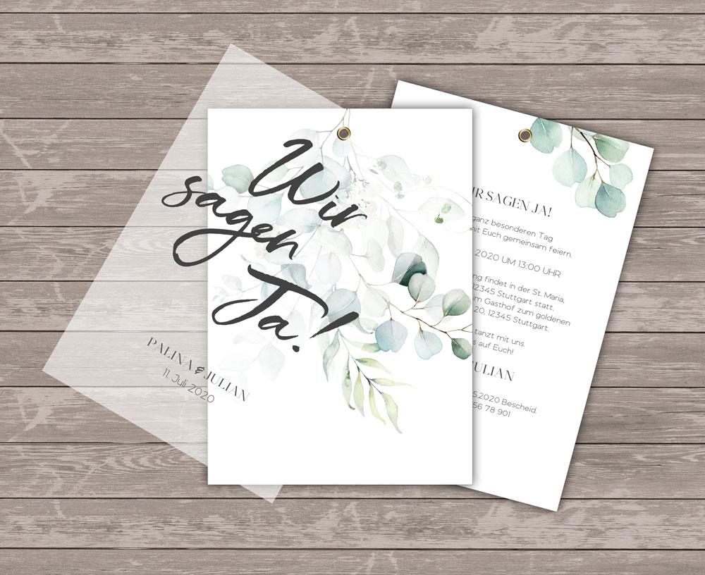 Romantic Green Einladung mit Transparentpapier