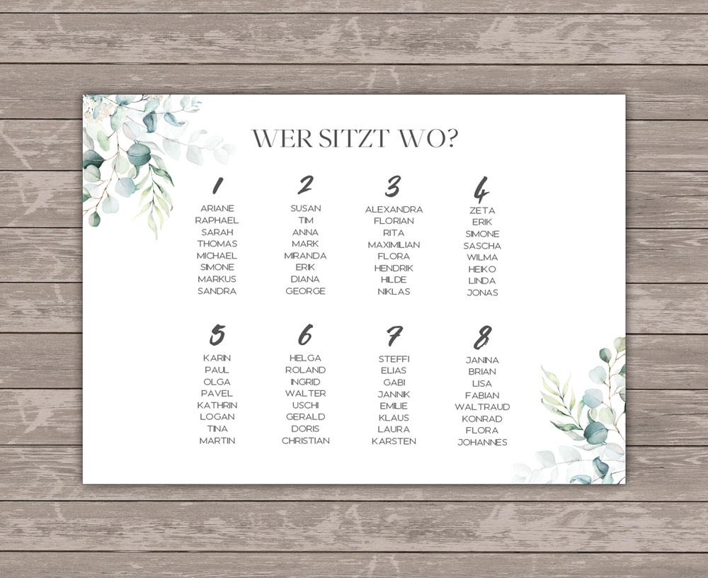 Romantic Green Sitzplan Poster