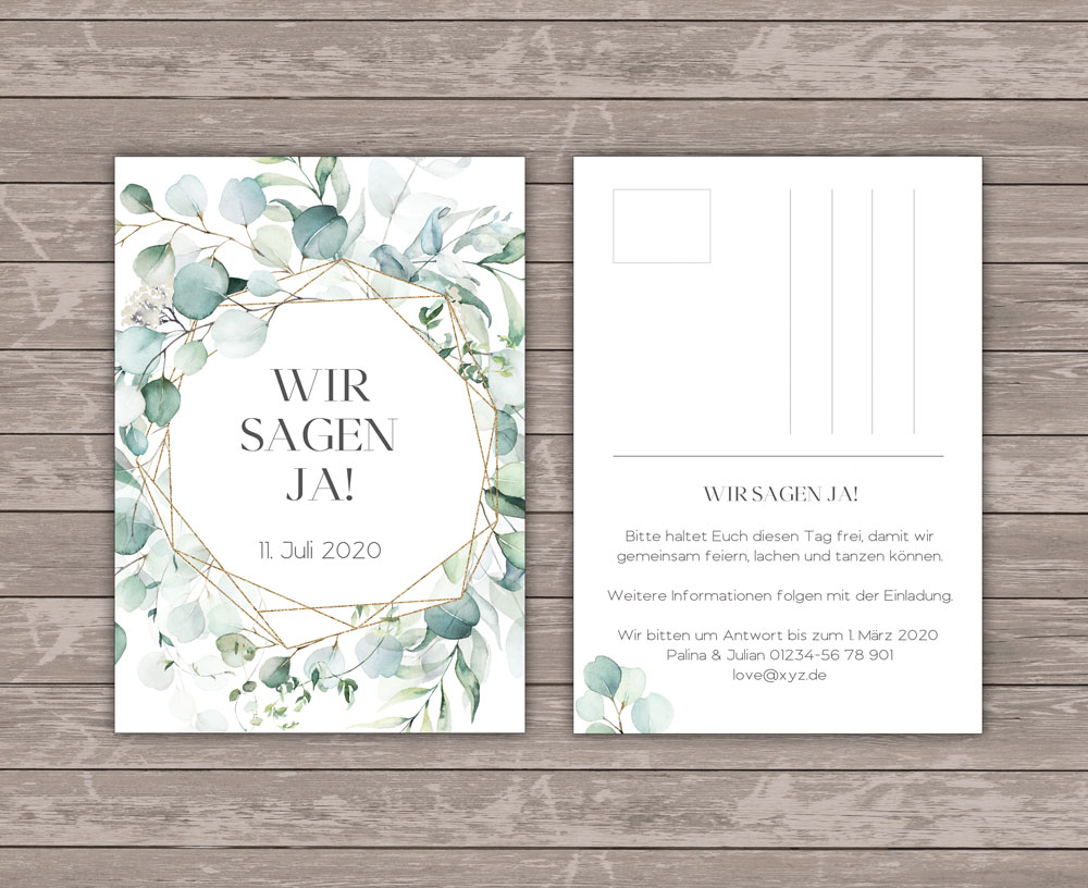 Romantic Green Save the Date Postkarte
